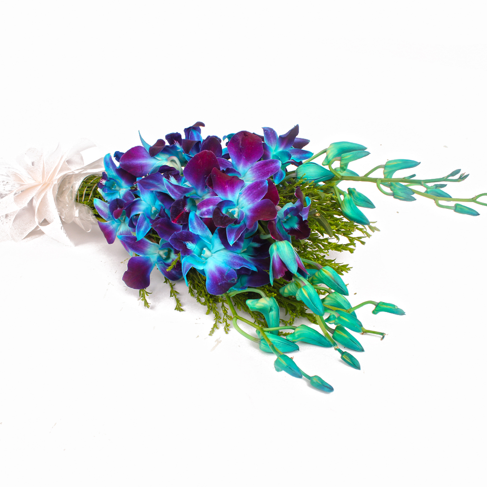 Bouquet of 6 Blue Orchids with Cellophane Wrapping