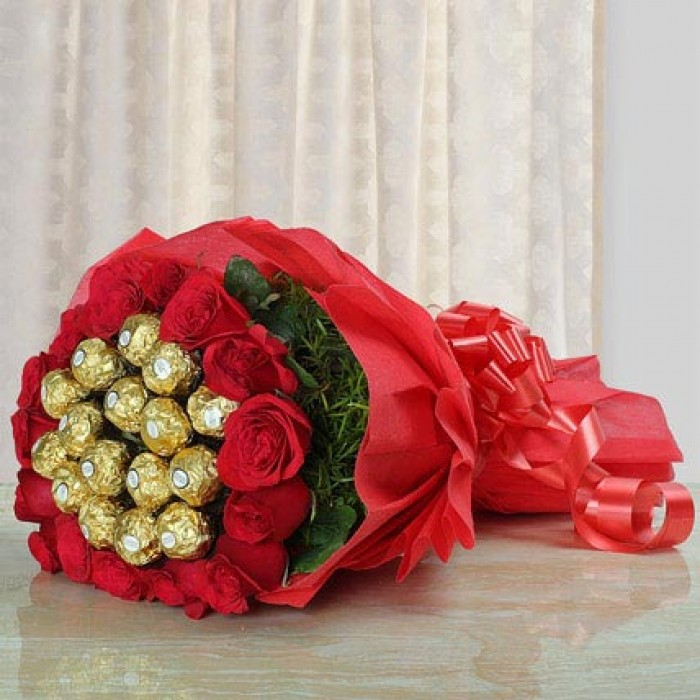 Ferrero Chocolate with Roses in Bouquet