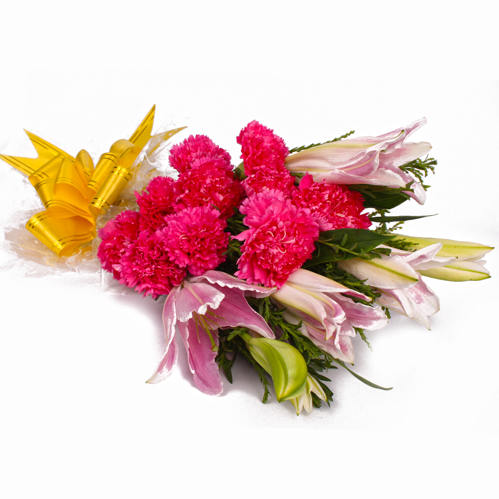 Fifteen Pink Carnations and Lilies Bouquet