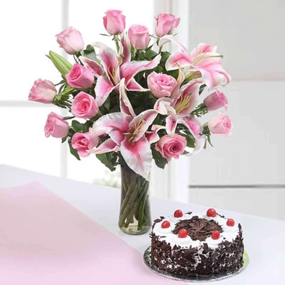 Pink Flowers with Black Forest Cake