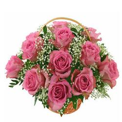 10 Pink Roses in Basket for Pune