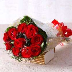 10 Red Roses Bouquet for Ghaziabad