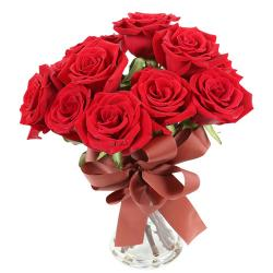 10 Red Roses In Glass Vase for Ahmedabad