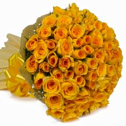 100 Yellow Roses Bouquet with Tissue Packing for Raichur