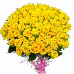 100 Yellow Roses Bouquet for Kolkata