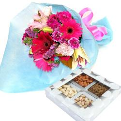 12 Flowers with Dryfruit for Mathura