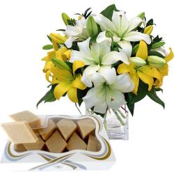 12 Lilies Vase and Kaju Katli for Jaipur
