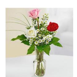 3 Mix Roses In Vase for Siliguri