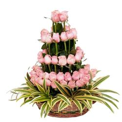 3 Tier Arrangement Of 50 Roses for Bhopal