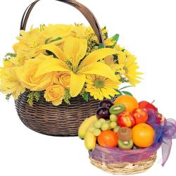 4 Kg Fruit with Bright Flowers for Jaipur