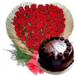 50 Roses Heart with Chocolate Cake for Chandigarh