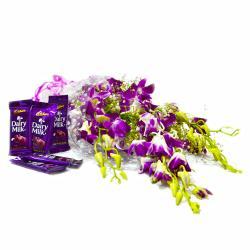 6 Purple Orchid with Cadbury Dairy Milk Chocolate Bars for Moga