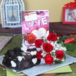 6 Red Roses Bouquet with Heart Shape Chocolate Cake and Love Card for Shimla