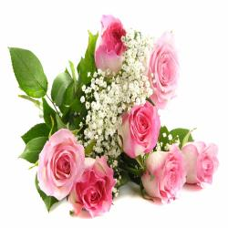 7 Pink Roses Hand Bunch for Indore
