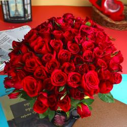 Adorable 50 Red Roses Bouquet for Kolkata