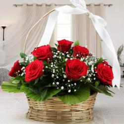 Adorable Basket Arrangement of Red Roses for Alappuzha