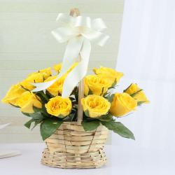 Adorable Yellow Roses in a Basket