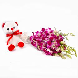 Adoreable Teddy Bear with Purple Orchids Bunch for Indore