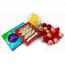 Alluring Roses and Kaju Katli Sweet with Celebration Chocolate Box for Bhopal