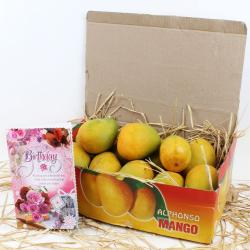 Alphonso Mangoes with Birthday Greeting Card for Moradabad