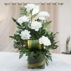Amazing Six White Carnations in Vase for Indore