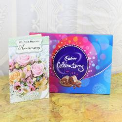 Anniversary Card for Cute Couple With Cadbury Celebration Box for Kolkata