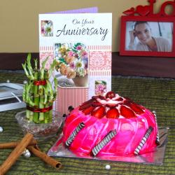 Anniversary Card with Strawberry Cake and Good Luck Plant for Bankura