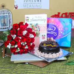 Anniversary Celebration Chocolate Pack with Cake and Card