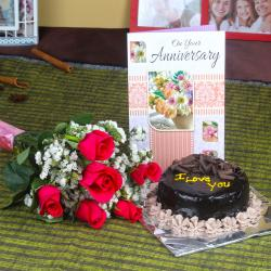 Anniversary Eggless Chocolate Cake with Six Fresh Red Roses and Greeting Card for Pune