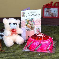 Anniversary Eggless Strawberry Cake with Teddy and Greeting Card for Baroda