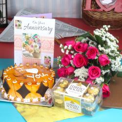 Anniversary Ferrero Rocher Chocolates with Butterscotch Cake and Fresh Red Roses for Agra