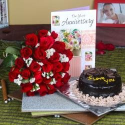 Anniversary Greeting Card with Red Roses Bunch and Chocolate Cake for Jaipur