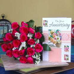 Anniversary Greeting Card with Red Roses for Indore