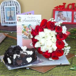 Anniversary Heart Shape Chocolate Cake with Greeting Card and Mix Roses Bouquet for Noida