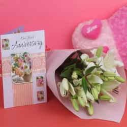 Anniversary Lillies Bouquet with Greeting Card for Manipal
