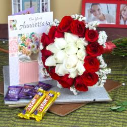 Anniversary Mix Roses Bouquet with Greeting Card and Assorted Chocolates for Kakinada
