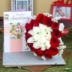 Anniversary Mix Roses Bouquet with Greeting Card for Asansol