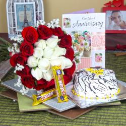 Anniversary Mix Roses Hand Tied Bouquet with Fresh Vanilla Cake and 5 Star Chocolates for Chandigarh