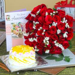 Anniversary Red Roses Bouquet and Pineapple Cake with Greeting Card for Baroda