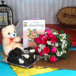 Anniversary Roses Bouquet and Chocolate Cake with Teddy Bear for Jaipur