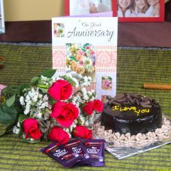 Anniversary Roses with Cake and Chocolate Bars for Vasco Da Gama