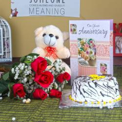Anniversary Six Roses with Vanilla Cake and Teddy Bear for Jaipur