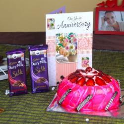 Anniversary Strawberry Cake with Silk Chocolates and Greeting Card for Vasco Da Gama