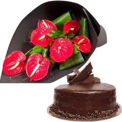 Anthurium Bouquet And Cake for Bharuch