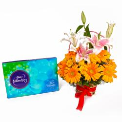 arranged of 20 Mix Fresh Flowers and Celebration Chocolate Box for Bhopal