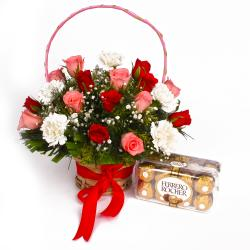 arranged of Roses with Carnations  and Ferrero Rocher Chocolate Box for Madras