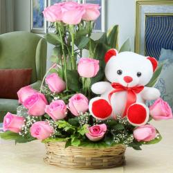 Arrangement of Fifteen Pink Roses and Cute Teddy Bear for Madras
