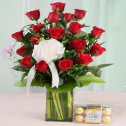Arrangement of Red Roses with Ferrero Rocher Chocolates for Moga