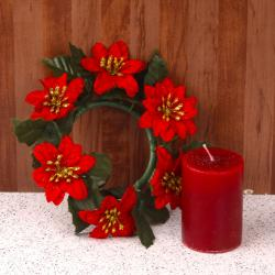Artificial Floral Wreath with Pillar Candle for Pune