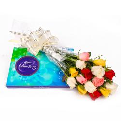 Assorted 15 Color Roses and Celebration Chocolate Box for Karaikudi